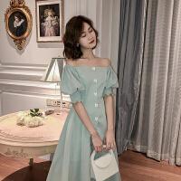韩语琳春季裙子女2020新款高腰法式复古山本过膝性感一字肩连衣裙