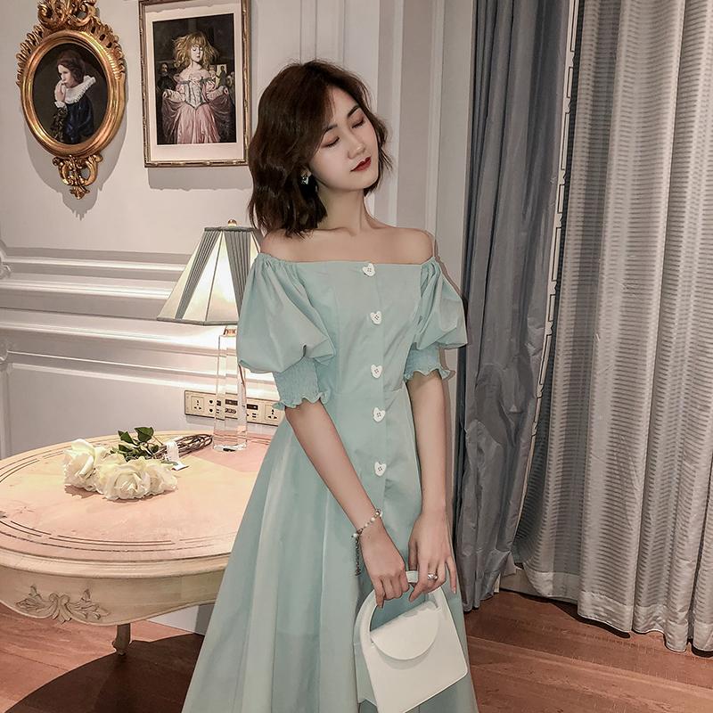 韩语琳春季裙子女2020新款高腰法式复古山本过膝性感一字肩连衣裙 性感一字肩  单排扣 一片式  中长款