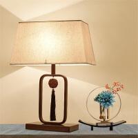 新中式台灯温馨卧室客房床头灯现代简约禅意书房红木纹客厅台灯具 台灯 按钮开关