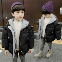 男童棉衣新款韩版面包服中小童短款棉袄宝宝加厚冬装外套 黑色 100加厚保暖