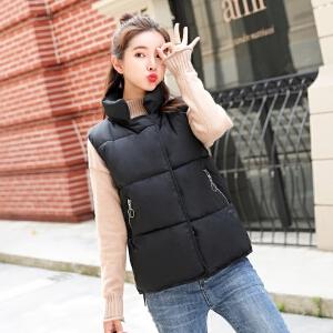 实拍2018新款冬季女装短款棉服马甲加厚无袖外套