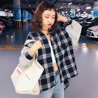 三木子快时尚女装~春装韩版衬衫拼接外套慵懒学院风衬衣上衣