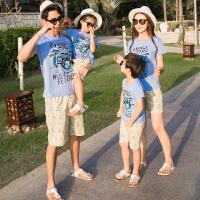 2019夏装新款潮全家装母子母女休闲套装一家三口旅游沙滩装亲子装