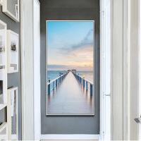 玄关装饰画北欧风格玄关装饰画入户过道走廊挂画竖版墙上海景画现代简约壁画