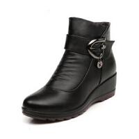 中老年妈妈鞋棉鞋 加绒坡跟中年女鞋 保暖大码软底舒适坡跟真皮短靴