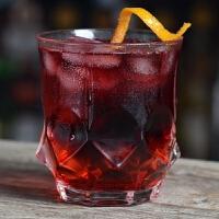 威士忌杯水晶玻璃杯刻花创意鸡尾酒杯果汁杯水杯烈酒杯酒吧洋酒杯 棱角钻石款-320ml/11 oz