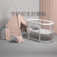 babycare多功能婴儿床 实木环保宝宝床滚轮摇篮床儿童床新生儿床