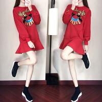 2018新款女装法式连衣裙秋冬季气质打底裙少女初恋学生红色冬裙子