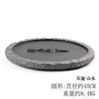【新品】日式茶盘家用简约功夫茶具乌金石茶盘石材托盘石头小茶盘小号排水
