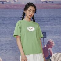 LLANO2020新款春夏复古chic抹茶绿花朵森系宽松短袖女上衣T恤女装