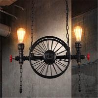 loft复古工业创意餐厅酒吧灯具美式吧台艺术车轮铁艺吊灯 2头黑色