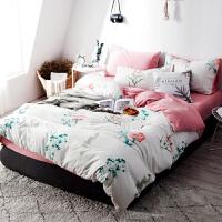 床上四件套纯棉简约ins风网红被套四件套宿舍三件套学生单人定制