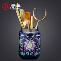 唐丰六君子家用茶道配件个性陶瓷珐琅彩茶筒铜制养壶笔茶艺组合
