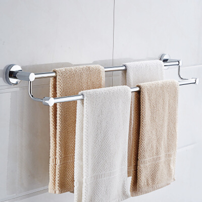 置物架 卫生间不锈钢毛巾架双杆免打孔卫生间毛巾架子加长毛巾挂加粗杆多规格