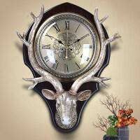 钟表挂钟客厅创意北欧式钟表复古美式装饰挂表静音时钟大鹿头挂钟春节礼物情人节礼物