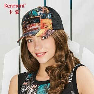 卡蒙黑色鸭舌帽女夏亚麻棒球帽硬顶网布透气太阳帽户外防晒遮阳帽 3606