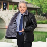 冬季新款中老年人皮衣男休闲男装外套加绒加厚中年男士爸爸皮夹克