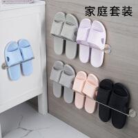 浴室拖鞋架卫生间门后收纳厕所沥水家用不锈钢免钉墙壁挂式免打孔
