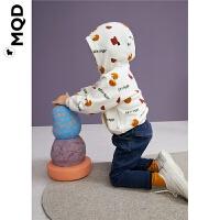 MQD儿童连帽加厚卫衣19冬米白满版印花男宝宝保暖加绒上衣