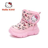 【4折�r:107.6元】HelloKitty�P蒂�童鞋女童雪地靴2019冬季新款�和�加厚棉靴女孩保暖靴子K9546836