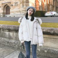 女冬新款面包服短款棉袄学生韩版宽松bf棉衣加厚外套 米色 S