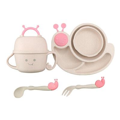 保温碗宝宝辅食碗麦秸秆餐盘幼儿园卡通碗勺叉杯分格餐盒儿童餐具套装yw wk-168