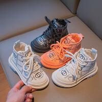 女童皮鞋秋季儿童软底透气高帮休闲板鞋马丁靴男童学生短靴