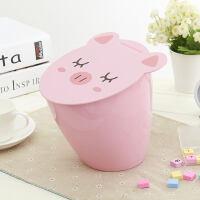 桌面垃圾桶卡通可爱小猪时尚厨房桌上清洁桶客厅小号垃圾桶
