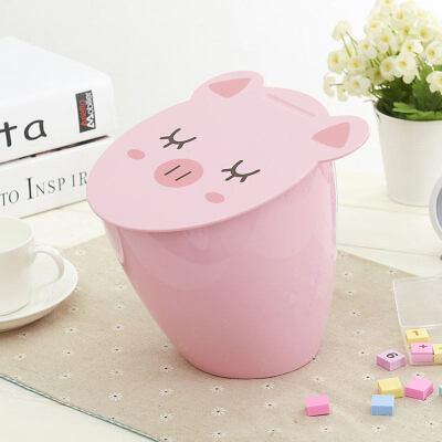 桌面垃圾桶卡通可爱小猪时尚厨房桌上清洁桶客厅小号垃圾桶 送专用垃圾袋一卷20只一卷