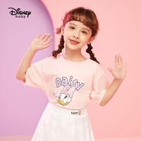 迪士尼女童短袖T恤2021夏季新款针织卡通儿童宝宝短袖T恤