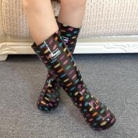 女士雨靴时尚七彩圆点拼色中跟水鞋高筒雨鞋胶鞋农用劳保雨靴