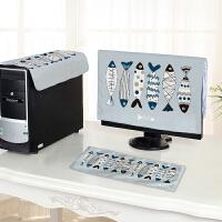 电脑罩卡通台式电脑套一体机液晶显示器键盘主机防尘罩三件套 蓝色 蓝灰鱼三件套
