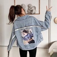 2020春秋季牛仔外套女短款韩版宽松亮片贴布时尚上衣夹克6032