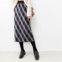 菱格针织裙女秋冬撞色格子毛线半身裙高腰包臀裙中长直筒裙一步裙 均码