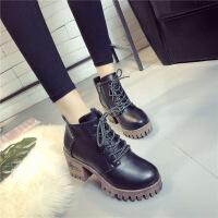 冬季韩版加绒加厚英伦风时尚女靴子粗高跟短靴女鞋百搭厚底马丁靴
