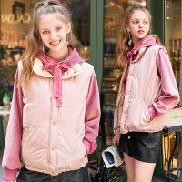2018冬季新款女韩版学生短款宽松背心马夹无袖马甲外套 粉色