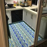 厨房地垫脚垫长条卧室床边地毯客厅门垫浴室防滑垫拼接定制 绿波纹