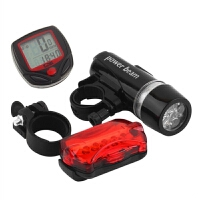 山地自行车死飞公路车单车装备配件5LED前灯尾灯 自行车码表
