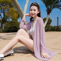 学生防晒衣中长款开衫防紫外线户外海边沙滩宽松雪纺披肩