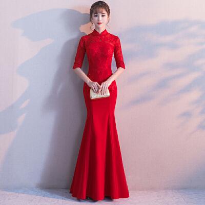 敬酒服2018新款秋季鱼尾长款新娘红色结婚礼服女中式旗袍长袖修身   时尚修身 新娘回门服 新品