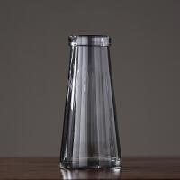 美式玻璃花瓶摆件 现代简约时尚客厅插花花器 样板间软装饰品摆设