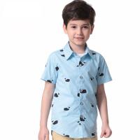 中小童打底衬衣儿童宝宝T恤时尚童装春夏装男童印花短袖衬衫
