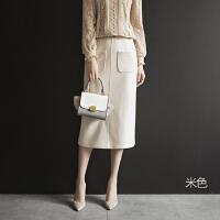 2018秋冬新款半身裙针织包臀裙女裙高腰中长款一步裙长裙冬裙裙子