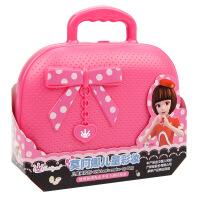 儿童化妆品彩妆盒公主套装安全口红指甲油女孩玩具 可儿粉色手提箱
