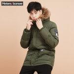 美特斯邦威 羽绒服男冬季新款迷彩中长款外套青年潮