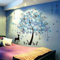 3D立体墙贴纸贴画卧室房间墙面装饰壁纸创意背景墙壁温馨自粘墙纸 01 雪花林+梦幻钢琴(收藏宝贝送精美开关贴) 特大