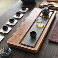 乌金石茶盘排水简约功夫茶具套装重竹茶台实木家用茶海竹制 整块