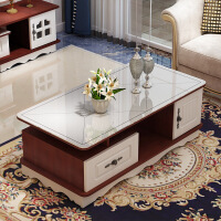 茶几桌客厅家用小户型茶台欧式简约茶桌电视柜组合圆角玻璃小茶几
