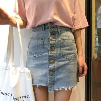 水洗牛仔半身裙女春季新款韩版百搭不规则高腰显瘦单排扣A字短裙
