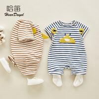 夏季宝宝爬服哈衣婴儿衣服薄款短袖条纹外出服婴儿夏装连体衣